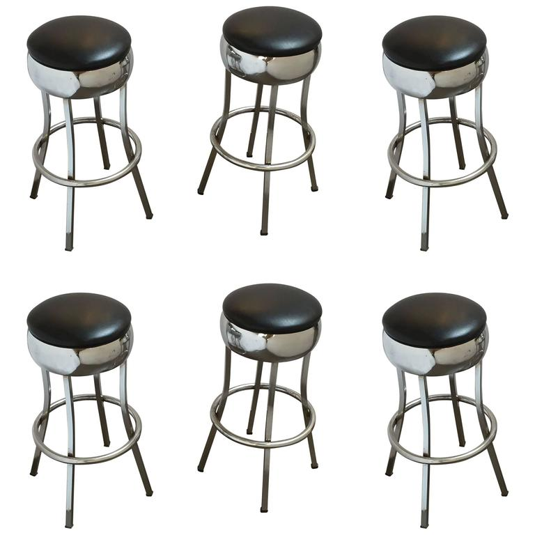 Six Chrome Bar Stools 'Priced Individually'