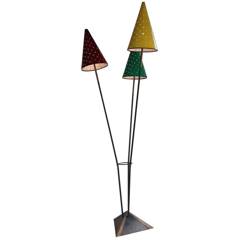 Rare Floor Lamp with Three Lights in the Style of Jean Royère, 1950s