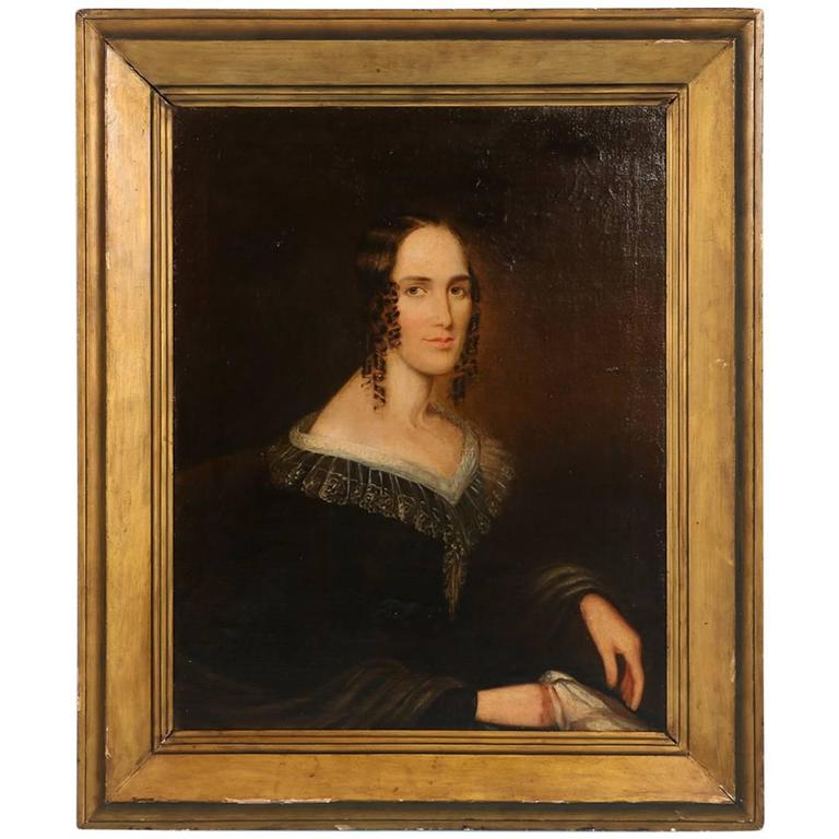 Antique Oil on Canvas Painting Portrait of a Woman, circa 1800-1820