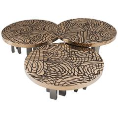 Set of Three Sculptural Bronze Coffee Tables by Inform