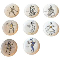 Fornasetti Rare and Complete Set of Eight 'Maschere Italiane' Coasters, 1960s