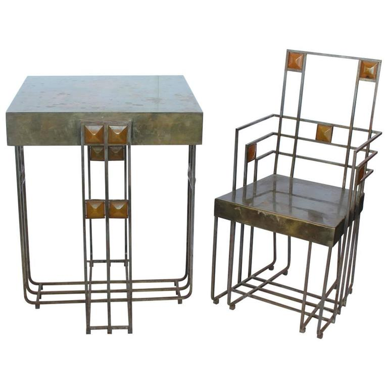 Amazing Josef Hoffman Style Bauhaus Set of Brass Table and Chair