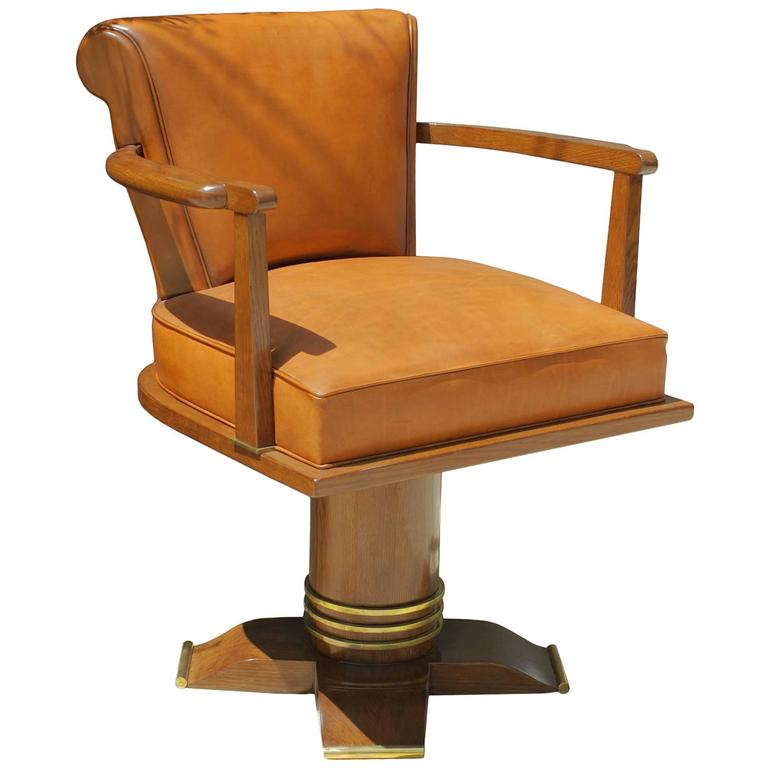 Exceptional and Rare Oak and Brass Swivel Desk Chair, 1930 For Sale