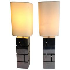 Nice Pair of Early 1970s Modernist Table Lamps, Chromed Metal, Italy