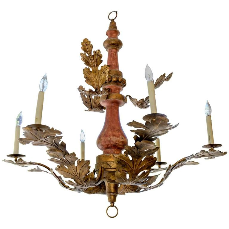 Italian Painted Wood and Gilt Tole Chandelier