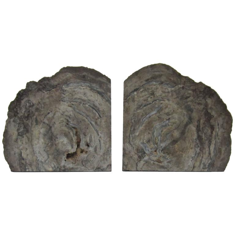 Pair of vintage grey geode bookends at 1stdibs - Geode bookends ...