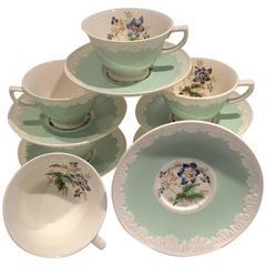 "Set of Six Wedgwood England ""Hampton Court"" Mint Tea Cup and Saucer"