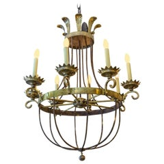 19th Century French Late Regency Brass and Steel Chandelier