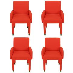 Set of Four Design Institute of America Fully Upholstered Red Wool Armchairs