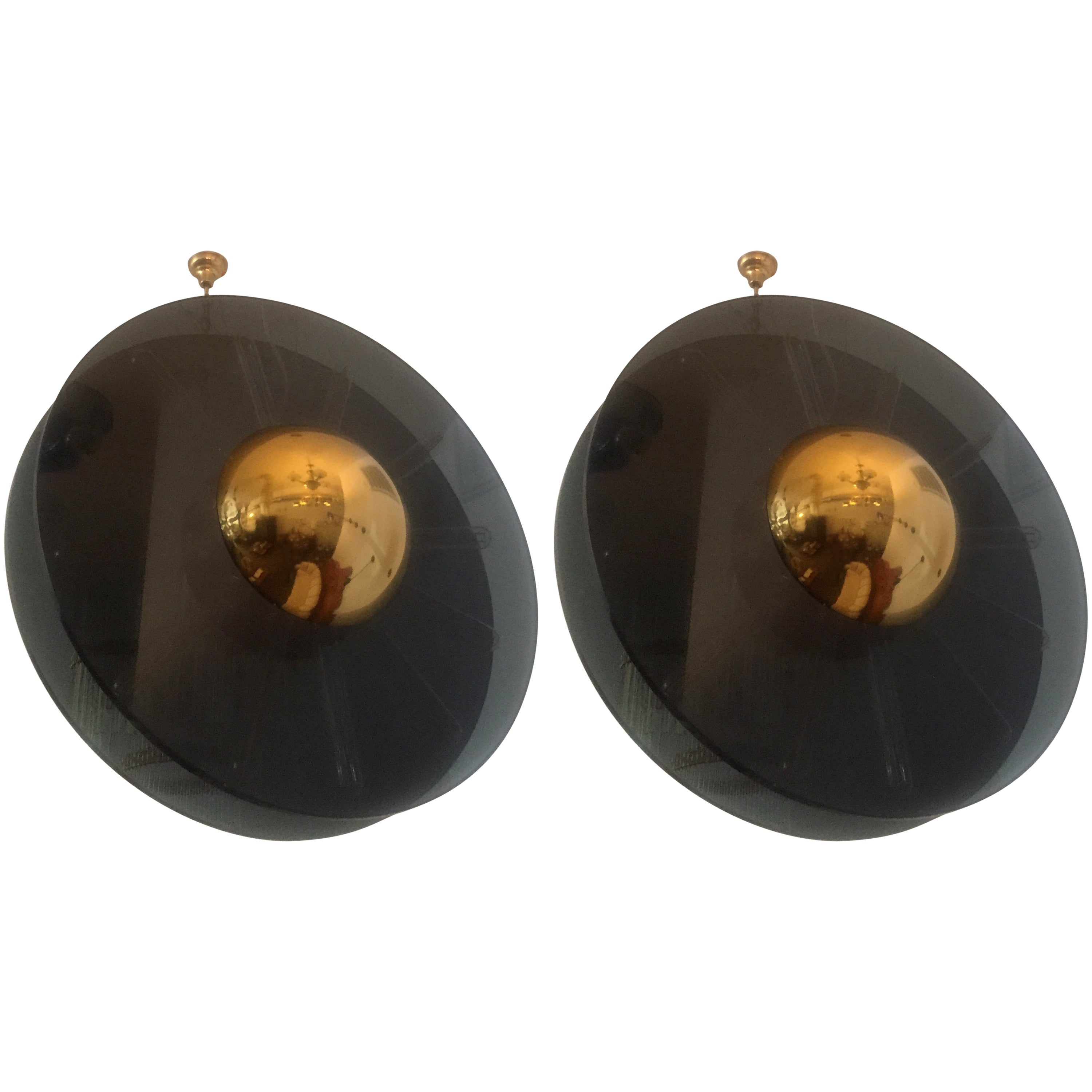 """Pair of """"Saturno"""" Moderne Pendant Chandeliers"""