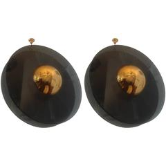 "Pair of ""Saturno"" Moderne Pendant Chandeliers"