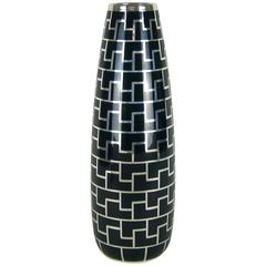 Large Art Deco Vase Hutschenreuther Porcelain with Pure Silver Overlay