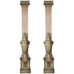 Pair of 1940s French Painted Treillage Columns with Urns