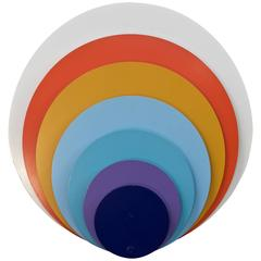 1960s Psychedelic Pop Art Offset Concentric Circles Wall Sconce