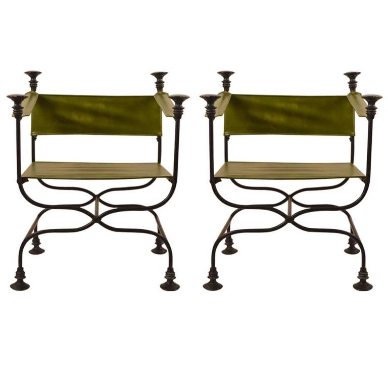 Pair of Campaign Chairs with Green Vinyl Seats, Backrest and Armrests For Sale