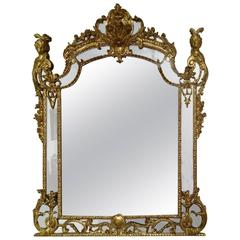 Exceptional French Regence Period Giltwood Boiserie Mirror, France, circa 1725