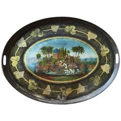 Antique English Tole Polychrome Enamel and Gilt Tray