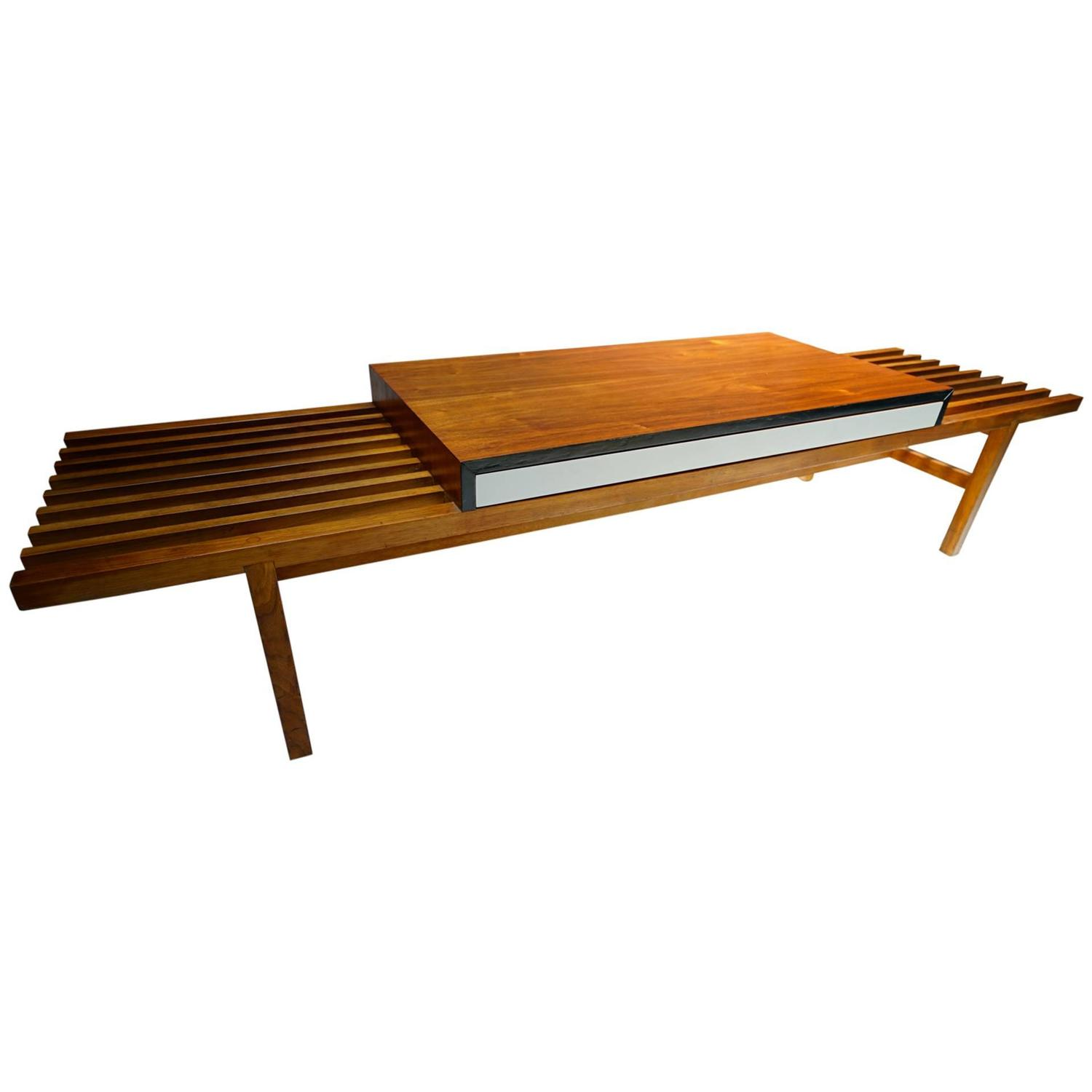 Slat Bench Coffee Table Expanding Mid Century Modern Slat Bench Or Coffee Table Mid Century