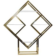Modernist Geometric Brass Diamond Shaped Étagère by Milo Baughman