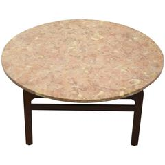 Pink Marble Coffee Table by Jens Risom, circa 1960, American