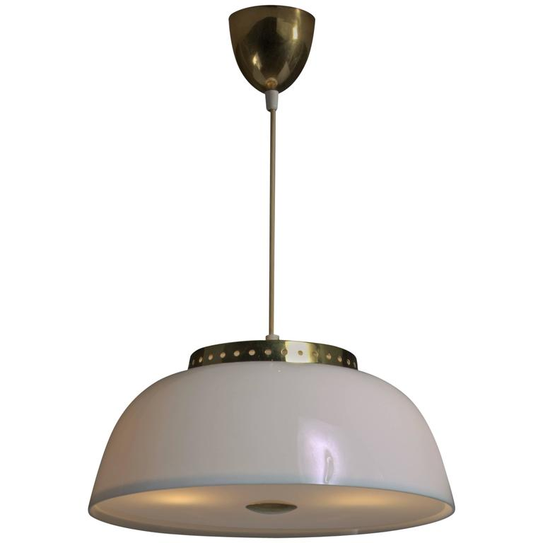 Lisa Johansson-Pape White Acrylic and Brass Pendant for Orno, Finland