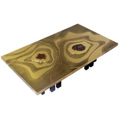Coffee Table by Willy Daro Inlaid Petrified Wood
