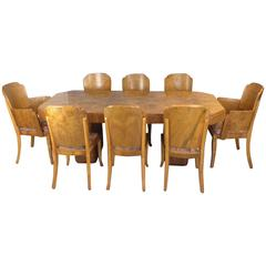 Marcel Guillemard Art Deco Dining Table and Eight Chairs