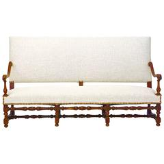 19th Century Jacobean Style Hall Settee or Bench with Back