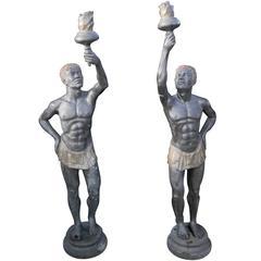 Pair of Extra Large Italian Bronze Blackamoor Statues