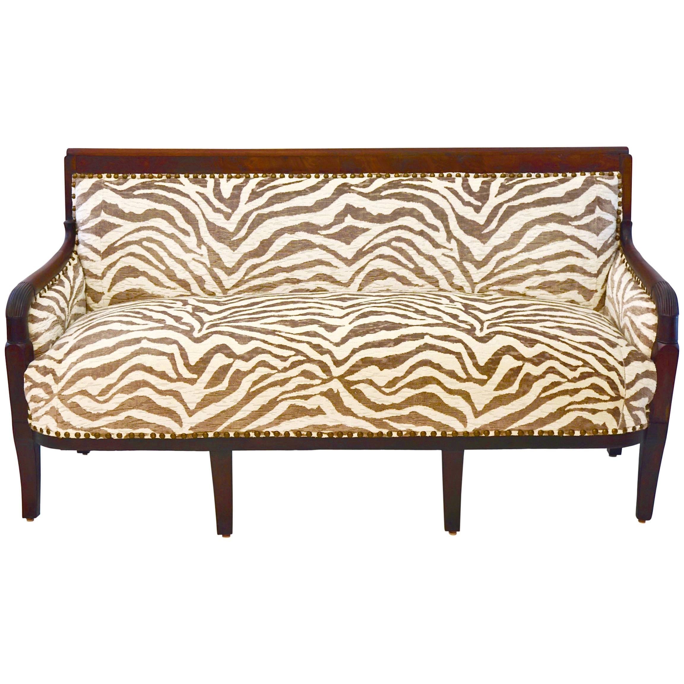 Empire-Style French Settee, Newly Upholstered in Zebra Velvet