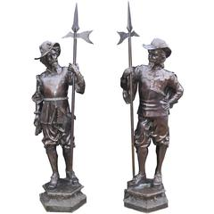 Pair of English Bronze Lifesize Cavaliers Prince Charles I Soldiers
