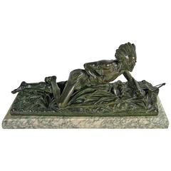 Edouard Drouot Original Bronze American Indian Crawling Hunting