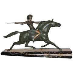 Art Deco Warrior Goddess Sculpture by Melo