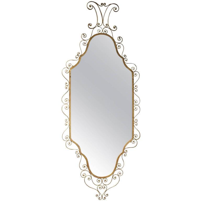 Mid-Century Modern Italian Wrought Iron Gilded Mirror