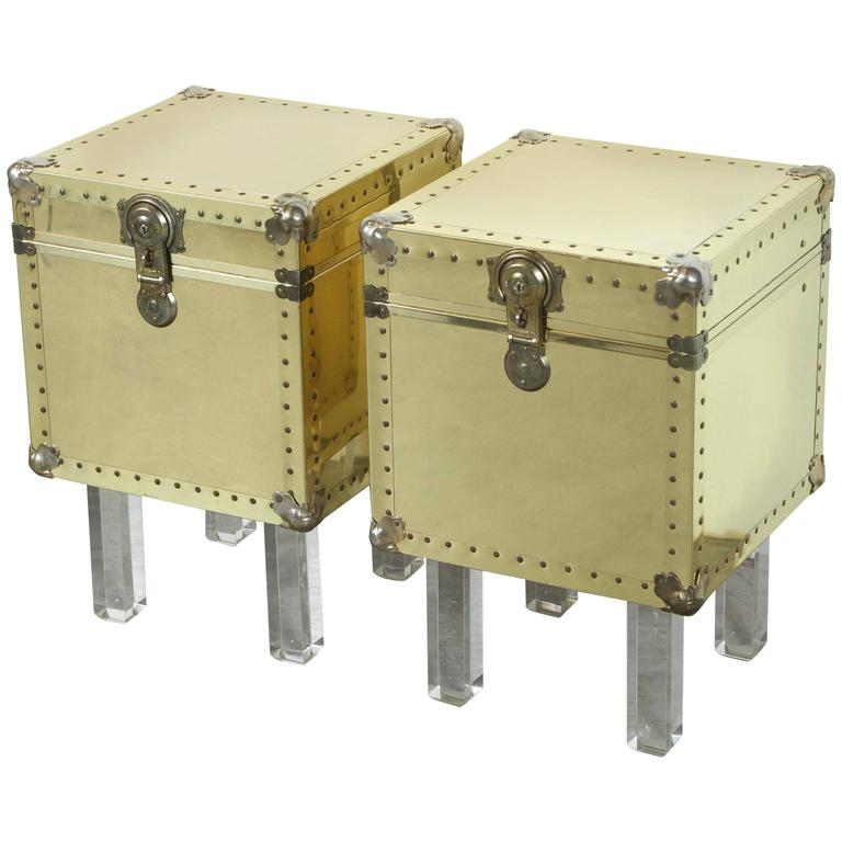Chic Pair Of Small Brass Trunk End Tables For Sale