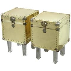 Chic Pair of Small Brass Trunk End Tables