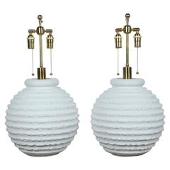 Pair of Plaster Lamps with a White Matte Finish