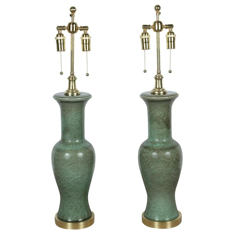 Pair of Beautiful Glazed Ceramic Lamps by Frederick Cooper
