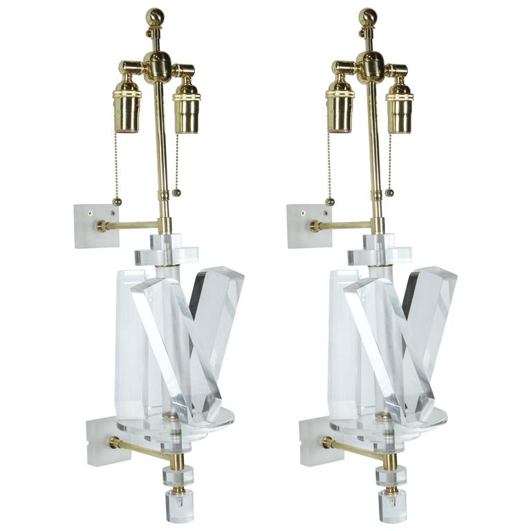 Pair of Stunning Lucite and Brass Sconces