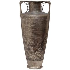 Monumental Art Nouveau Silvered Vase