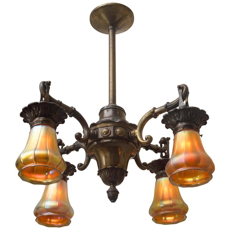 FourArm Edwardian Bronze Chandelier with Period Steuben Glass – Bronze Chandelier with Shades