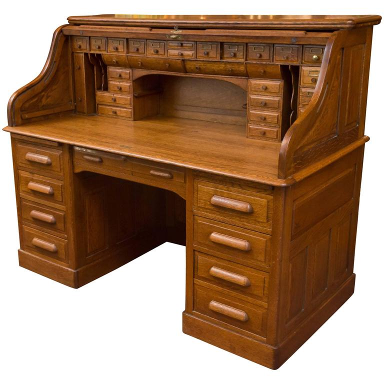 Exceptional Oversized S Type Oak Roll Top Desk At 1stdibs