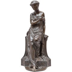 Neoclassical Bronze of a Maiden, Amour au Papillon, French, circa 1864