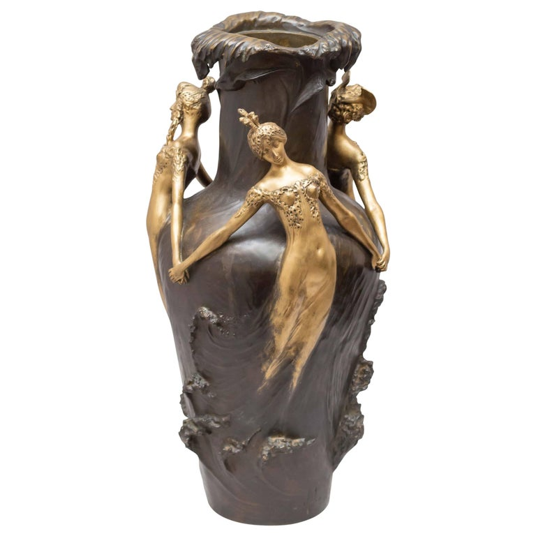 Art Nouveau Gilt and Patinated Bronze Vase, French, Artist Signed Chalon For Sale