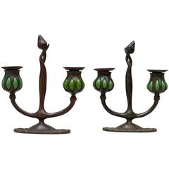 Pair of Signed Tiffany Studios Double Arm Candlesticks