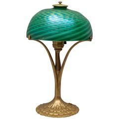 Signed Tiffany Studios Gilt Bronze Base with Damascene Swirl Glass Shade