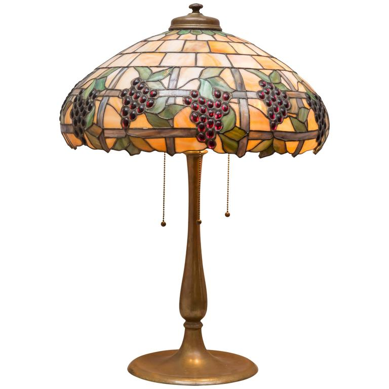 Leaded Glass Table Lamp Circa 1910 Grape Theme At 1stdibs