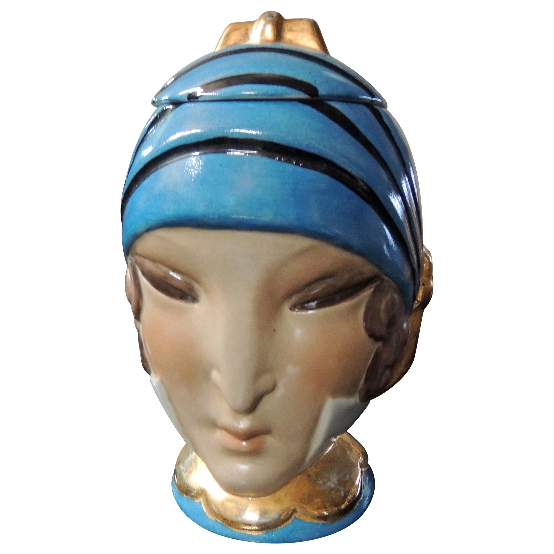 French Double Head Art Deco ROBJ Paris Signed Ceramic Jar Bonbonniere, 1930