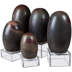 Five Large Indian Tantric Lingam Stones
