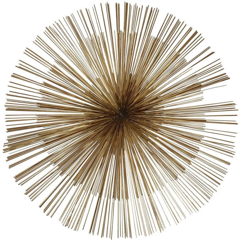 Signed Mid-Century Curtis Jere Brass Starburst Wall Sculpture For Sale